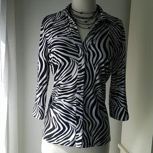 INC zebra stripe blouse